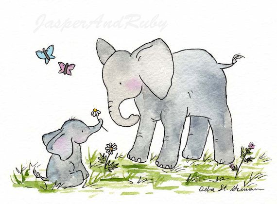 Etsy Transaction -            Elephant Nursery Art Print for Baby and Children- Ellie and Mama - 8X10 Archival PRINT- Nursery Wall Decor- Nursery Wall Art