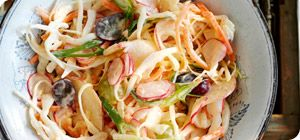 By swapping rich mayo for yogurt, you still get all the crunch and flavor of a store-bought creamy coleslaw!