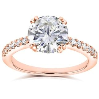annello by kobelli 14k rose gold 2 110ct tgw round moissanite hi - Traditional Wedding Rings