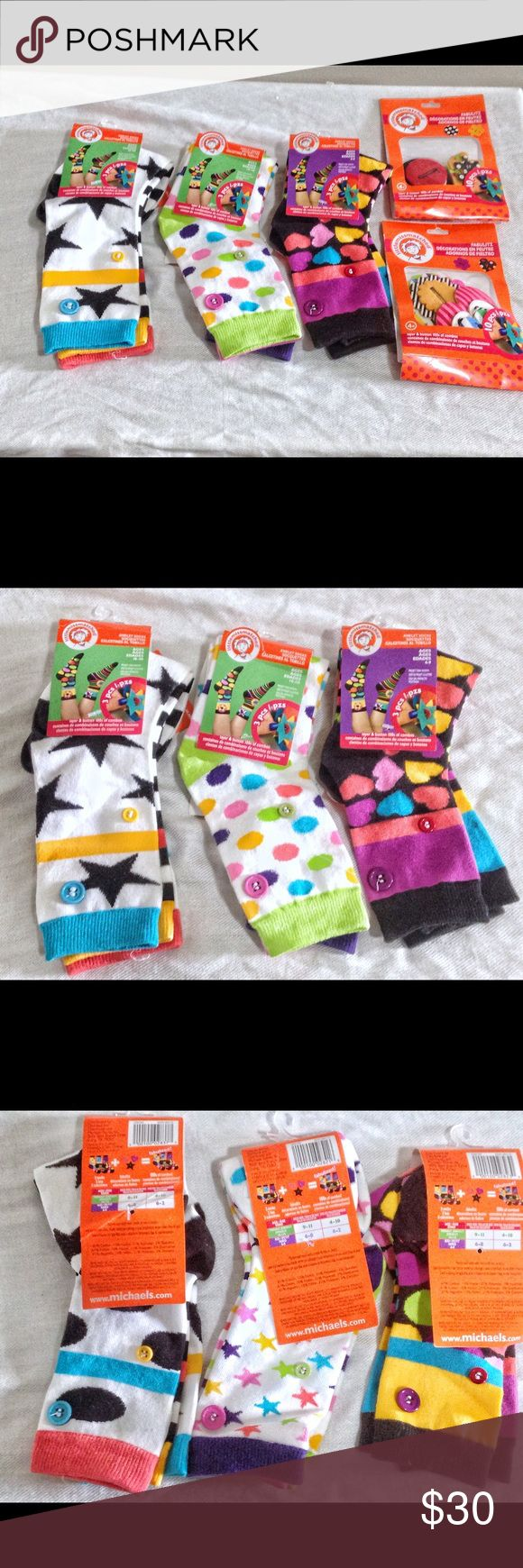 """NWT Kids Little Miss Matched Sock Bundle Three pairs of girls little miss matched socks!  Each sock had two buttons on ankle where you can attack """"sock charms"""". Two packets of sock charms included: flowers and hearts and circles and puzzles.  All new with tags. One bonus set of sock charms new in plastic without tag is also included (socks and cakes).  💵Offers Welcome 💰Bundle Discount 📦Ships in 1-2 days Accessories Socks & Tights"""