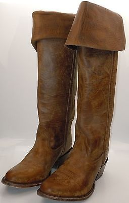 Lucchese I4834 Womens Western Riding Boots Natural Oiled Calf w/ Back Zipper