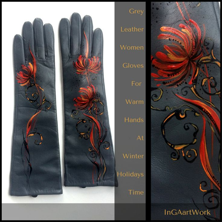 Grey Leather Gloves Women - Winter Women Gloves - Long Autumn Gloves - Gift Her - Long Genuine Gloves Gift Women - Mittens Long Grey Women leather gloves with black and copper ornament decor are intended for elegant and impression look. This accessory can become an excellent highlight in your stylish image.  #leathreggloves  #womenglove #wintergloves #christmasgift #handmadegiftforwomen