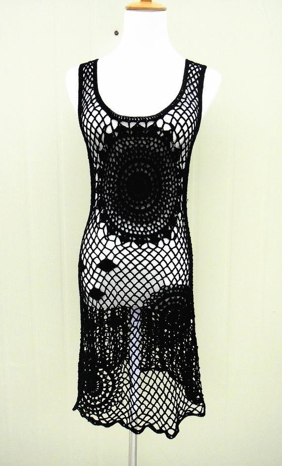 4507ee9f35c0f Boho Crochet Dress Summer Beach Cover Up Dress | Crochet | Black ...
