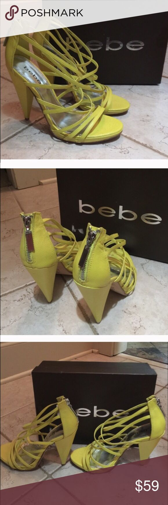 """BEBE STRAPPY LEATHER SANDALS HEELS YELLOW JUST REDUCED! Bebe amazing multi-strap heels pumps sandal. Angled, cone heel. 5"""" heels. Zips up the back. Metallic cushioned insole; leather sole. Excellent condition with only wear being on bottom. Comes with original box showing price $139. Style is called Maggie. I JUST REDUCED PRICE. Thanks for looking. bebe Shoes Sandals"""