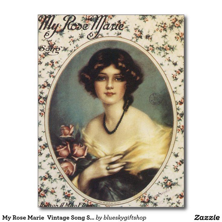 My Rose Marie  Vintage Song Sheet Music Art Postcard