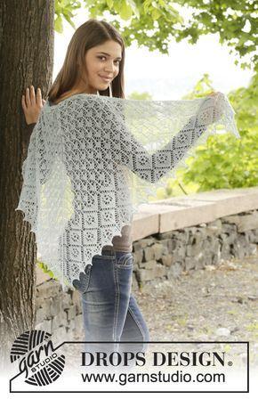 "First Frost - Châle ajouré DROPS en ""Lace"" ou ""BabyAlpaca Silk"". - Free pattern by DROPS Design"