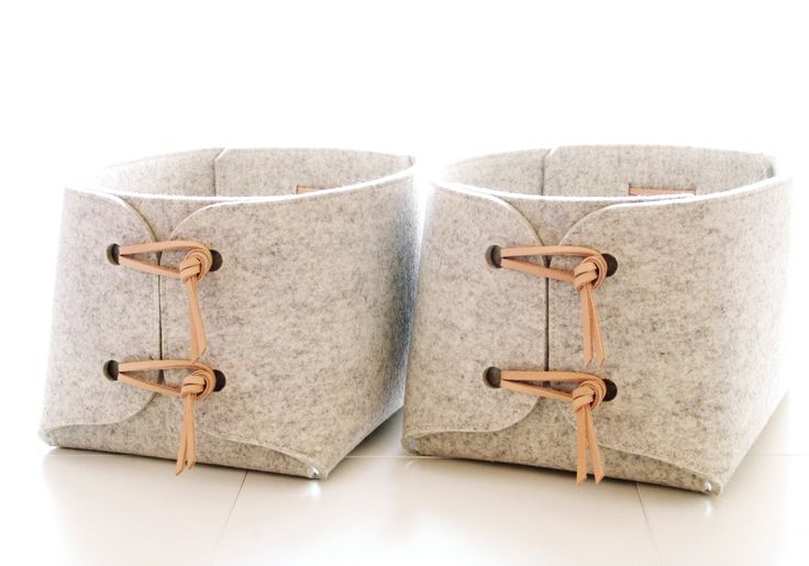 Storage bins with natural leather details - Two large storage baskets - toy storage bins - storage box - minimalist felt laundry hampers by SKANDINAVIOUS on Etsy https://www.etsy.com/listing/249491841/storage-bins-with-natural-leather