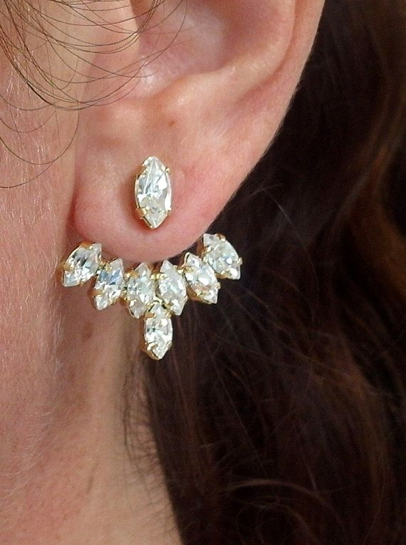 Ear jacket | Gold crystal ear jacket | Bridal earrings by EldorTinaJewelry | http://etsy.me/1PUJBbD