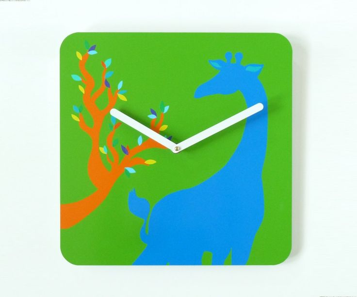 Green, Blue and Orange Giraffe Clock - Modern Kid's Room - Analog Clock - Kids Clock - Veterinarian Clock - Office Clock - School Clock by eightyacresart on Etsy