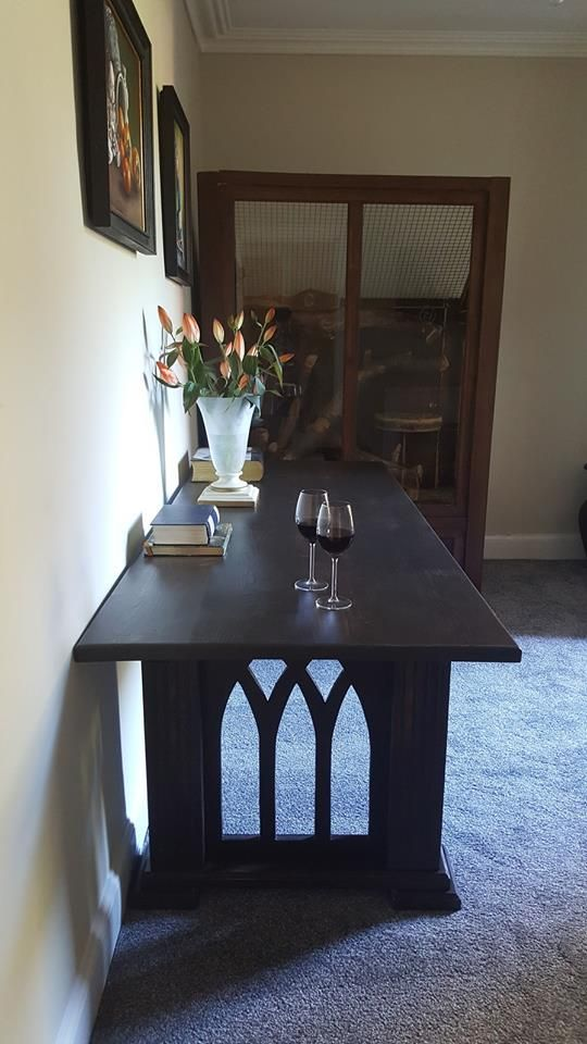 A gothic table inspired by the architecture of cathedrals. Custom made by PLP Woodworks