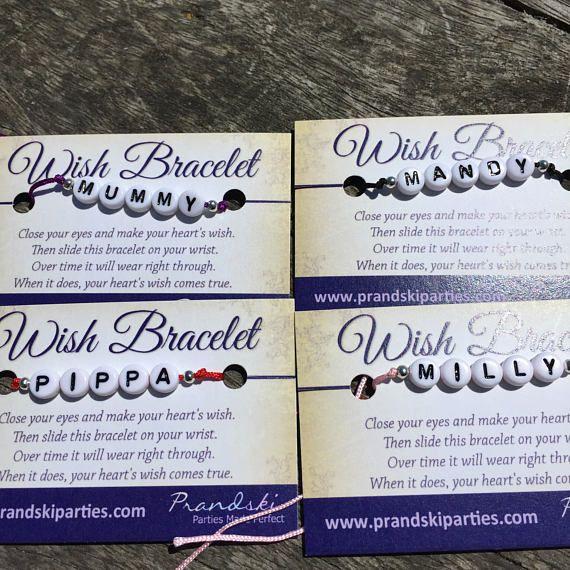 Make a Wish name bracelet. Tie on bracelet on 1mm thread with round alphabet beads in name or word of your choice, on a wish poem card. #sunnydazestudio #Bexhill #wishbracelet #namebracelet #personalisedgift #MakeAWish
