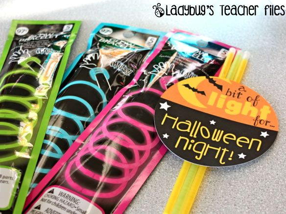 """Ladybug's Teacher Files: Halloween Gift: A Bit of Light for Halloween night tag to attach to glow stick """"treat"""" for students"""
