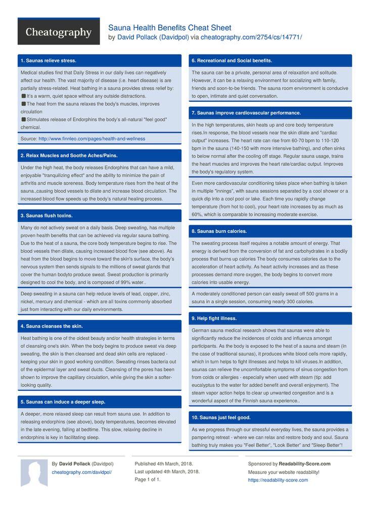 Sauna Health Benefits Cheat Sheet by Davidpol http://www.cheatography.com/davidpol/cheat-sheets/sauna-health-benefits/ #cheatsheet #health #benefits #sauna