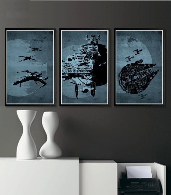 I am gonna make art like this for my dwelling. Star Wars 11X17 Poster Set by sanasini on Etsy, $40.00