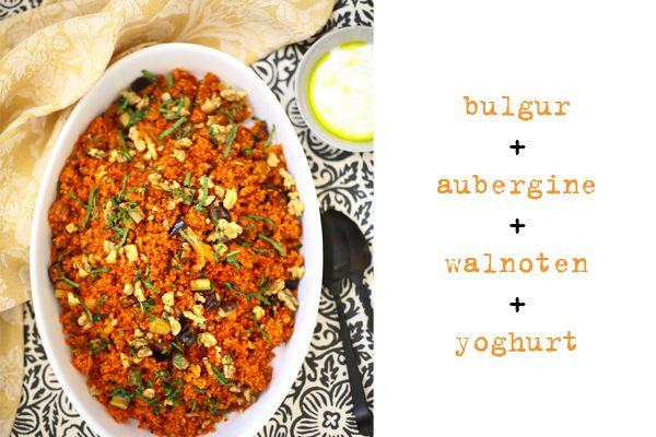 bulgursalade met aubergine, walnoten en yoghurt