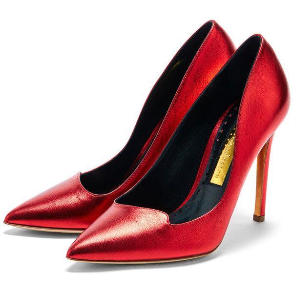Rupert Sanderson High Heel Pumps ($675) ❤ liked on Polyvore featuring shoes, pumps, rupert sanderson, rupert sanderson pumps, pointed toe pumps, high heel shoes and metallic pointed toe pumps