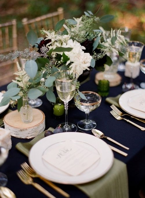 I LOVE this! dark gray table cloths, white/ivory linens and chair covers, Copper, Green, White accents.