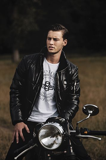 Jacket: BONO - black I T-shirt: GLAF UP - white I Trousers: ALTAMIRA ROVER - black