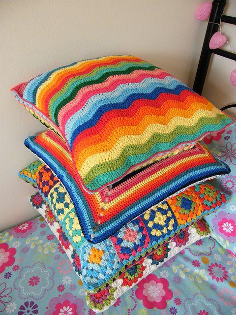 Colour burst with crochet cushions. Rico Creative Cotton, bottom cushion is Debbie Bliss Cotton
