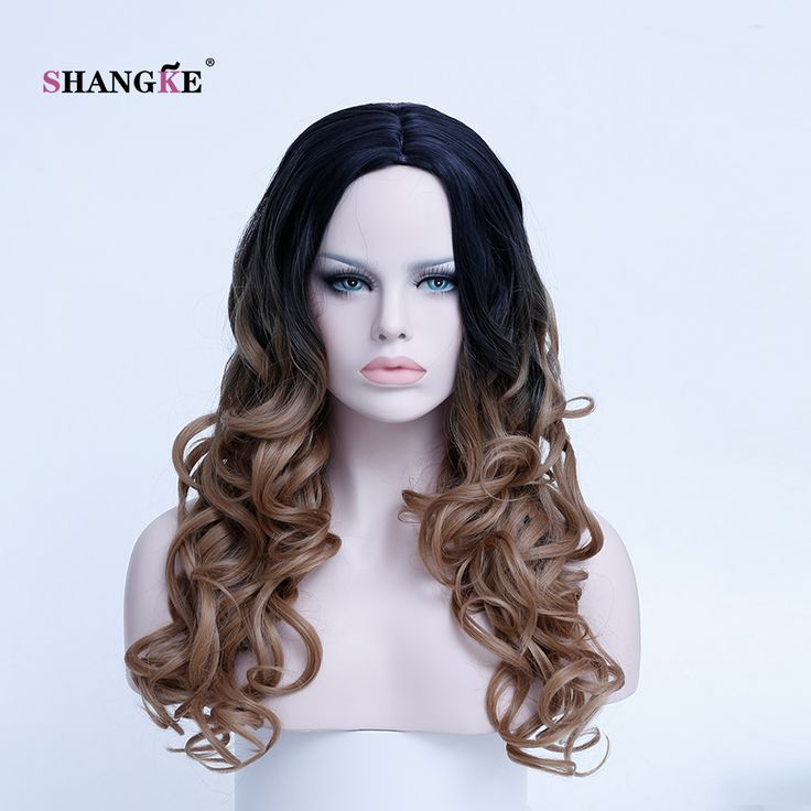 SHANGKE Hair 22'' Long Curly Synthetic Wigs For Black Women Brown Ombre Wig Heat Resistant Synthetic Hair Wigs