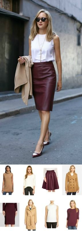burgundy leather pencil skirt + camel coat | this look for less + all of my cyber monday sale picks!