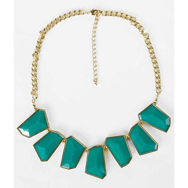 BKE Geometric Statement Necklace - Gold/Turquoise 20-25 ($13) ❤ liked on Polyvore featuring jewelry, necklaces, turquoise necklace, gold jewellery, turquoise jewelry, chunky turquoise necklace and statement necklace