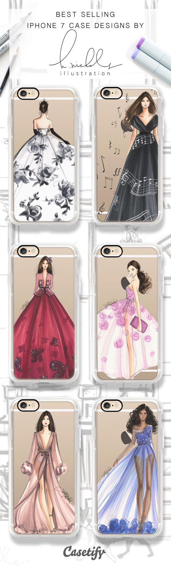 Pick a gown, any gown! Shop these best selling iPhone 6, iPhone 7 and iPhone 7 Plus case by Holly Nichols Illustration here > https://www.casetify.com/hnicholsillustration/collection?