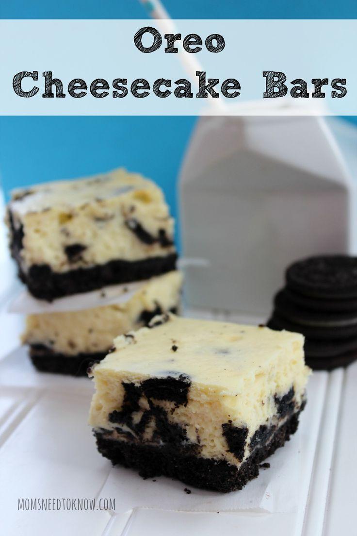Oreo cheesecake bars, Oreo cheesecake and Cheesecake bars on Pinterest