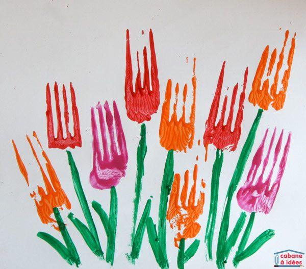 Art printanier : tulipes peintes avec une fourchette