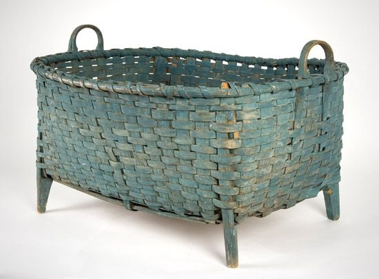 Blue Painted Wool Basket