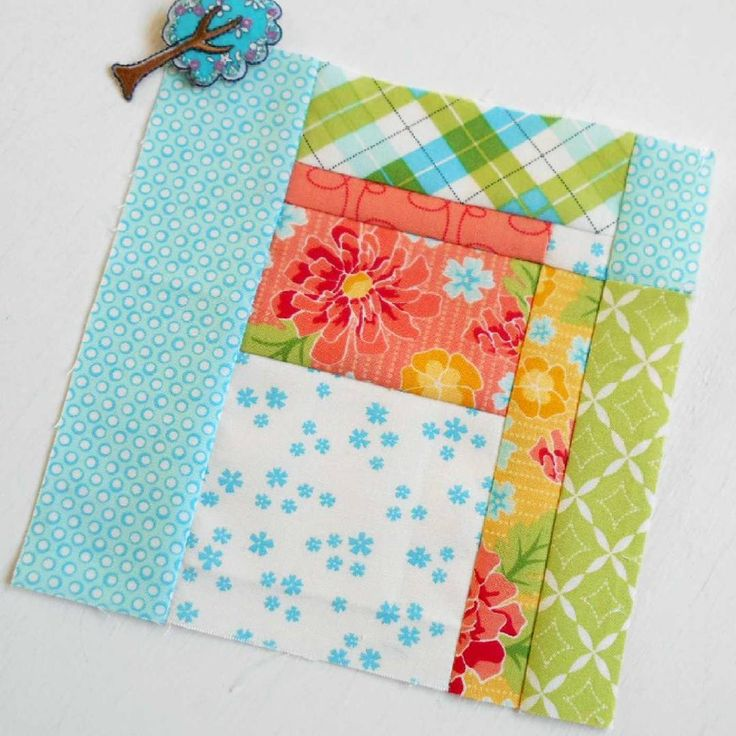 The Splendid Sampler Block no. 77 - Prism.  A lovely easy patchwork block which shows off the Summerfest fabric range perfectly.