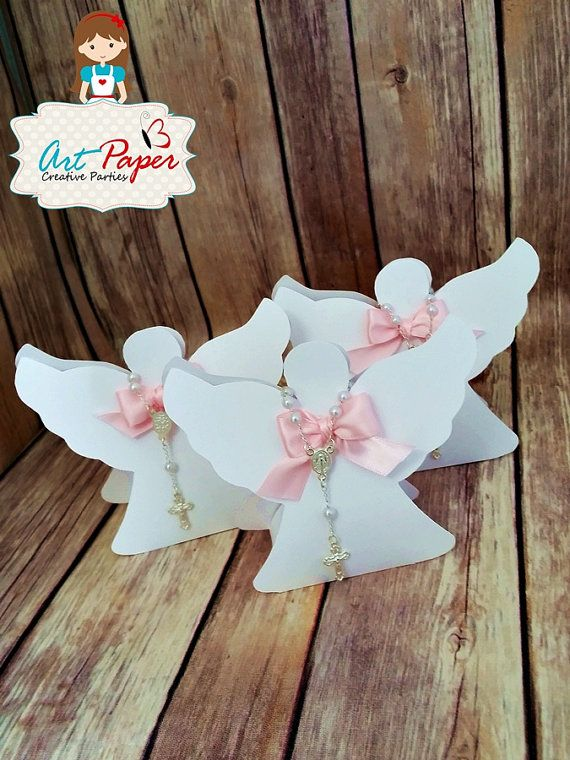 20 candy cup paper angel with mini rosary for by ArtPaperParty Más