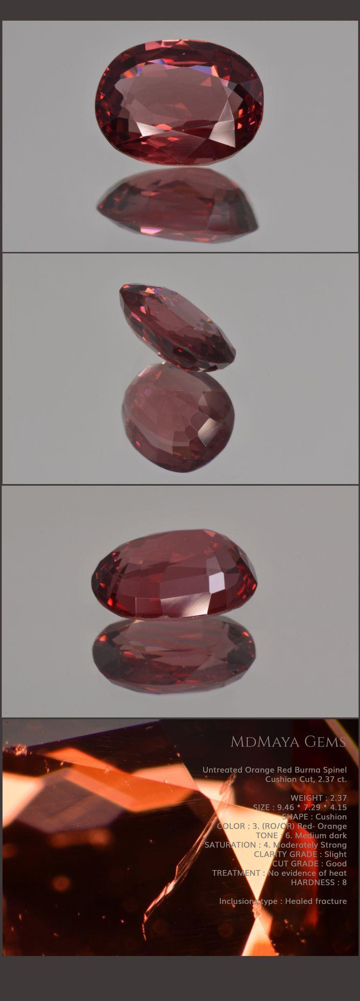 Untreated Orange Red Burma Spinel, Cushion Cut, 2.37 ct Loose Gemstones for sale MdMaya Gems