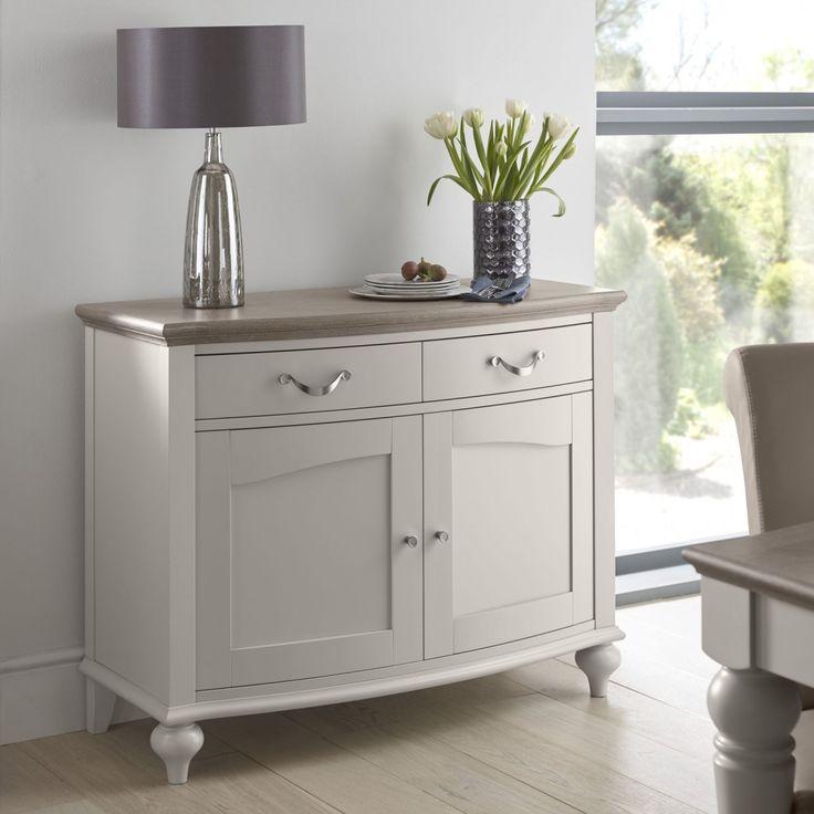 Dahlia Washed Oak & Soft Grey Narrow Sideboard