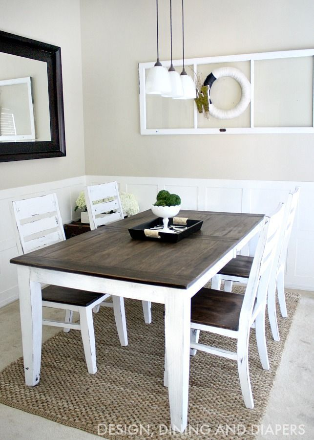 Refinish your table for $85! Love this two tone farmhouse look.