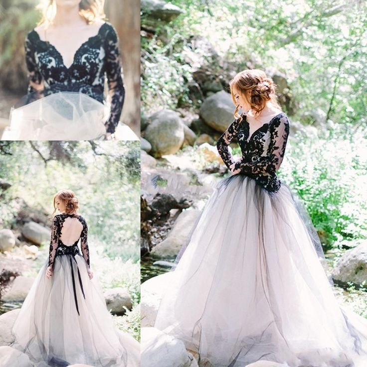 Moody Beauty Gothic Black Lace Wedding Dresses with Long