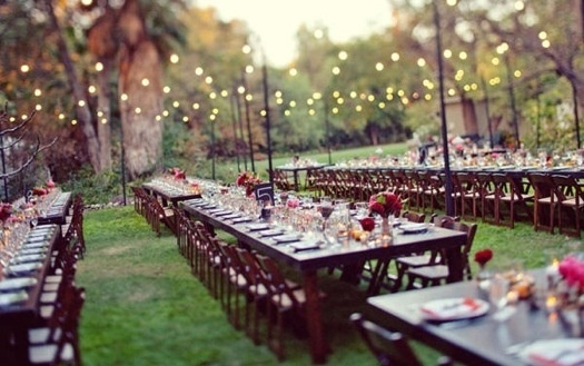 Wedding table ideas - not keen on white round tables, love this look.