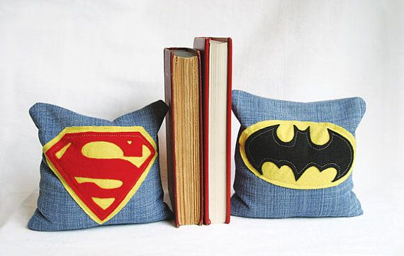 Decorative Superman and Batman bookends made from upcycled denim filled with dried beans. Perfect for your little Superhero. on Etsy, $38.00