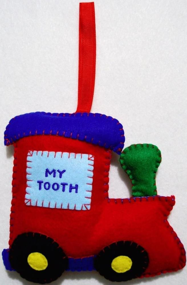 HAND~MADE BOYS PRIMARY FELT CHOO CHOO TRAIN TOOTH FAIRY PILLOW~FROM THE CHRISTMAS WINDOW