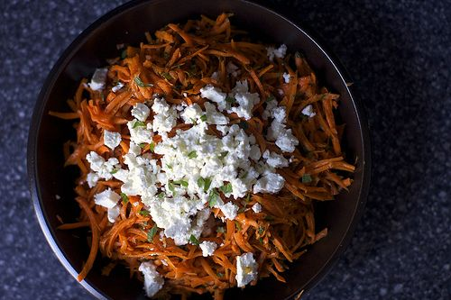 carrot salad with harissa, feta and mint