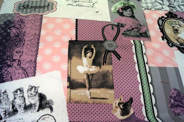 Z 311 Katoen patch/postcard roze/grijs/multi