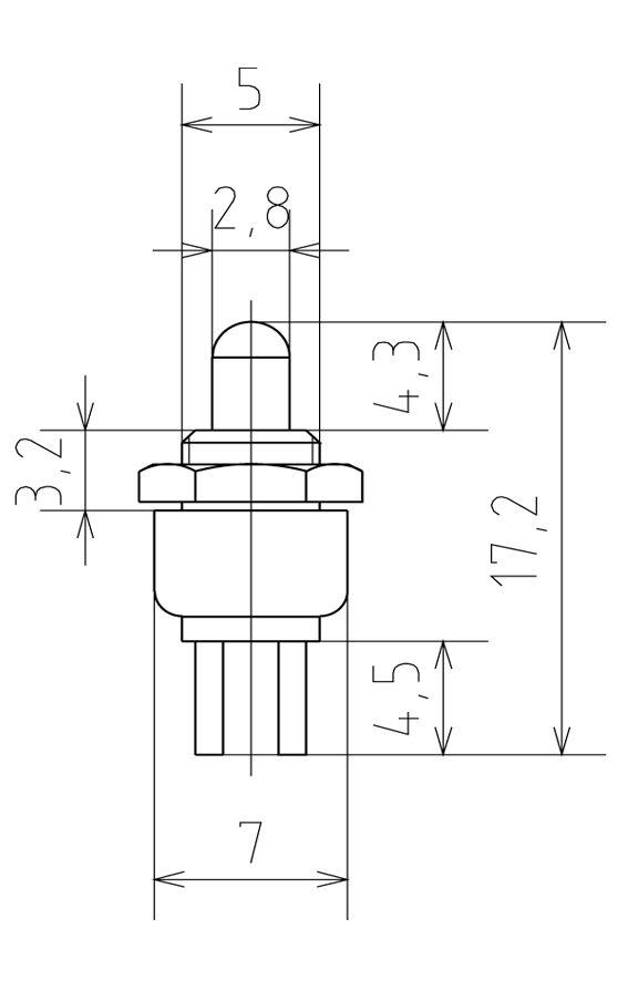 Чертеж Кнопка круглая 2,8мм 220В 0,3А крепл.гайка НР (черная)