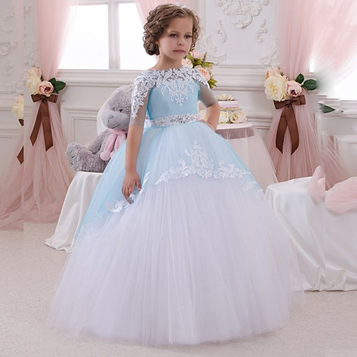 F3030 Blue And White Ball Gown Flower Girl Dresses 2016 Plus Size Half Sleeves First Communion For Kids Wedding Party Dresses-in Flower Girl Dresses from Weddings & Events on Aliexpress.com   Alibaba Group