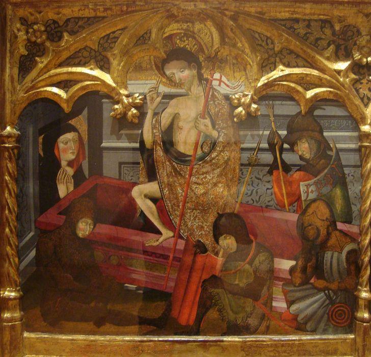 """""""Resurrección de Cristo"""" Temple y Óleo sobre tabla Autor: Jaume Goncalbo La Seo de Urgel, ca. 1385 - 1428.  Sala Gótica  Colección Permanente del Museo Nacional de San Carlos."""