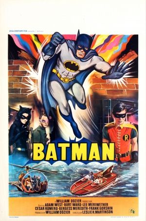 Batman 1966 Belgium - original vintage movie poster for the classic superhero film Batman released by 20th Century Fox, directed by Leslie H. Martinson and starring Adam West (as Batman), Burt Ward (as Robin), Lee Meriwether, Cesar Romero, Bergess Meredith and Frank Gorshin listed on AntikBar.co.uk
