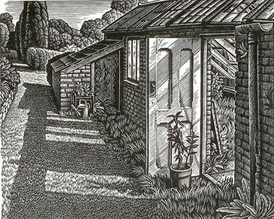 Howard Phipps. Old Greenhouse, Little Bredy. (wood engraving)
