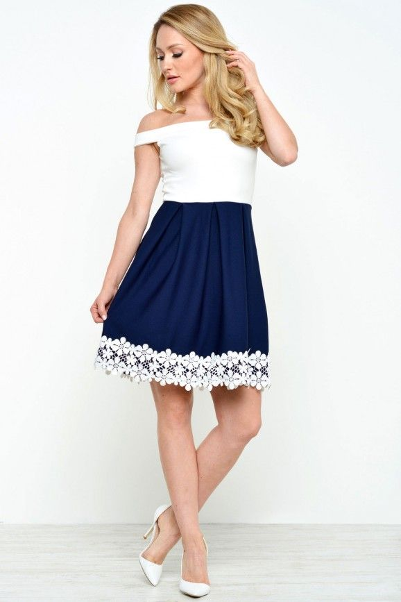 Lexis Crotchet Trim Contrast Dress in Cream and Navy