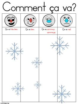 """Here is a Winter themed """"Comment a va?"""" recording sheet for your kinders to use during literacy centers.This sheet is also part of my Comment a va? Winter Activity package.Snowball Graphics by: Charlottes Clipswww.teacherspayteachers.com/Store/Charlottes-Clips"""