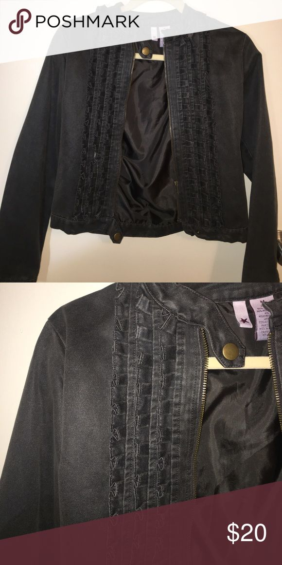 Suede dark grey bomber jacket Ruffle details with zipper and buttons at top and bottom of jacket. Never worn. Jackets & Coats Jean Jackets