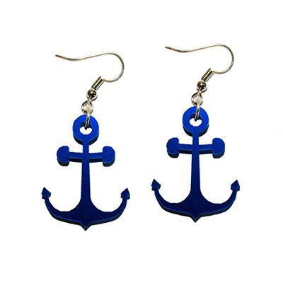 Metallic anchor Sailor earrings .. www.attitudeholland.nl Ship Ahoy! :)